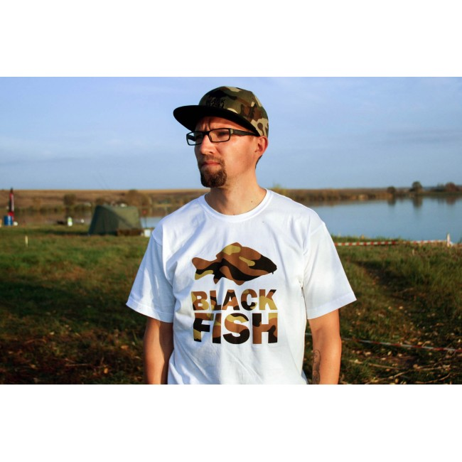 Футболка Black Fish T-Shirt White & Camo Размер S